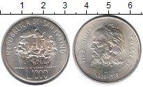 Монета Сан-Марино 1000 лир Серебро 1978 UNC- фото