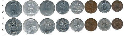 Изображение Наборы монет Ватикан Ватикан 1936 г, 1936  XF В наборе 8 монет ном