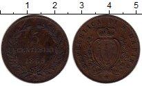 Монета Сан-Марино 5 чентезимо Медь 1869 XF фото
