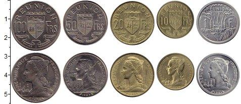 Изображение Наборы монет Реюньон 1 франк 1964 Медно-никель UNC Редкость. В родной у