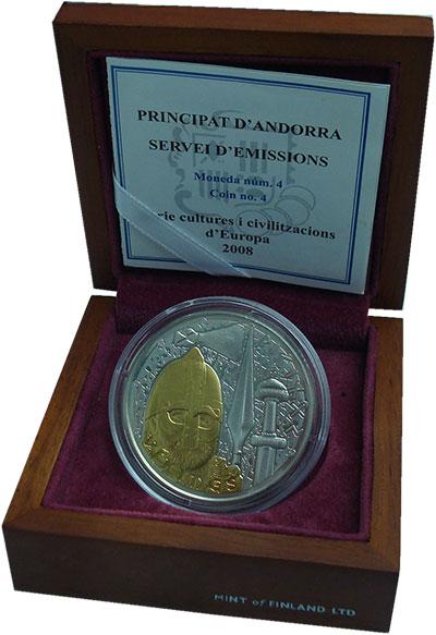 Изображение Подарочные монеты Андорра 10 динерс 2008 Серебро UNC Викинги.<br><br><br