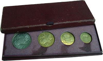Изображение Подарочные монеты Монако Набор пробных монет 1950 года 1950  UNC ESSAI. Набор пробных