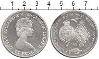 Изображение Монеты Великобритания Остров Вознесения 25 пенсов 1981 Серебро UNC