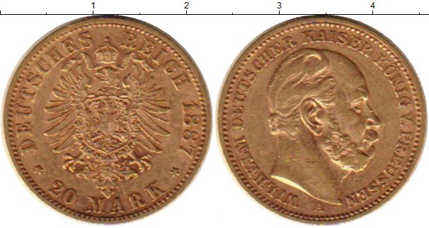 Картинка Монеты Пруссия 20 марок Золото 1887