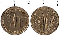 Изображение Монеты Великобритания Западная Африка 5 франков 1992 Латунь UNC-