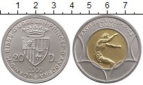 Изображение Монеты Андорра 20 динерс 2000 Биметалл UNC