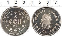 Изображение Монеты Бельгия 5 экю 1991 Серебро Proof-