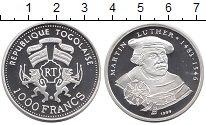 Изображение Монеты Того 1000 франков 1999 Серебро Proof