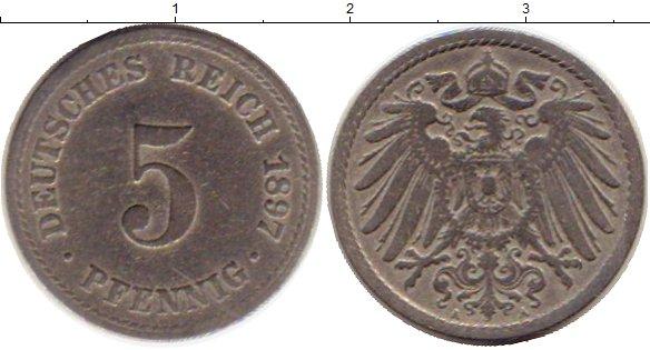 Картинка Монеты Германия 5 пфеннигов Медно-никель 1897