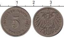 Изображение Монеты Германия 5 пфеннигов 1901 Медно-никель VF