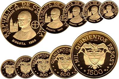 Изображение Подарочные монеты Колумбия Набор золотых монет 1968 года, XXXIX Международный Евахристический конгресс, 1968 Золото Proof- `Набор состоит из 5