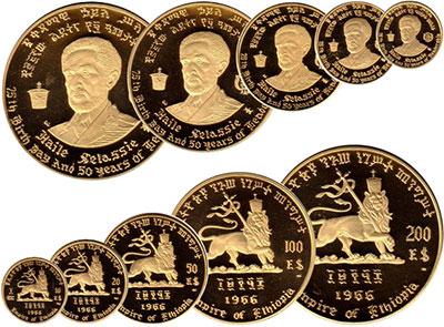 Изображение Подарочные монеты Эфиопия Набор золотых монет 1966 года, 75 лет со дня рождения и 50 лет правления Хайле Селассие 1966 Золото Proof-