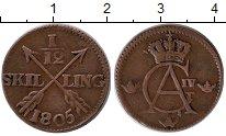 Изображение Монеты Швеция 1/12 скиллинга 1805 Медь XF