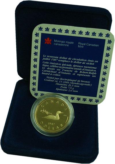 Изображение Подарочные монеты Канада 1 доллар 1987 Латунь Proof Елизавета II.  Черно