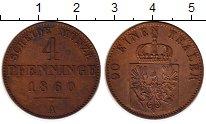 Изображение Монеты Германия Пруссия 4 пфеннига 1860 Медь XF+