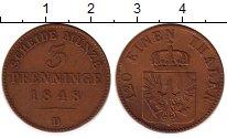 Изображение Монеты Германия Пруссия 3 пфеннига 1848 Медь XF-