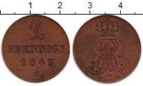 Изображение Монеты Германия Ганновер 2 пфеннига 1843 Медь XF