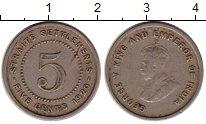 Изображение Монеты Великобритания Стрейтс-Сеттльмент 5 центов 1920 Медно-никель XF