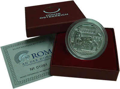 Изображение Подарочные монеты Австрия 20 евро 2010 Серебро Proof Рим на Дунае: Вируну
