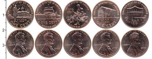 Изображение Наборы монет США Набор 1-центовых монет 2009 Медь UNC В наборе 5 монет ном