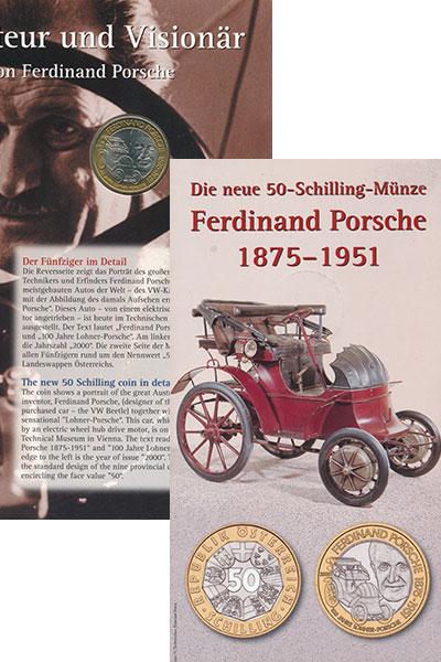 Изображение Монеты Австрия 50 шиллингов 2000 Биметалл UNC Фердинанд Порше. Авт