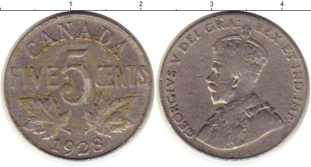 Картинка Монеты Канада 5 центов Медно-никель 1928