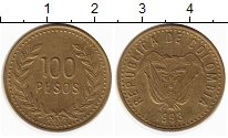 Изображение Монеты Колумбия 100 песо 1993 Латунь XF