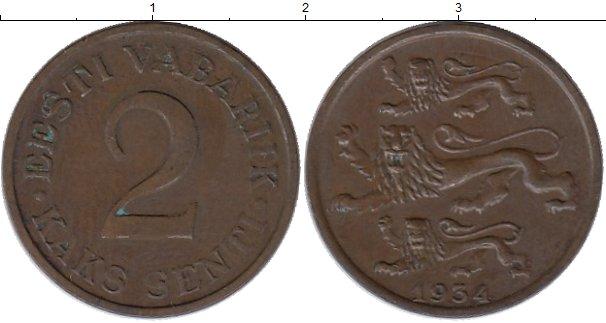 Картинка Монеты Эстония 2 сенти Бронза 1934