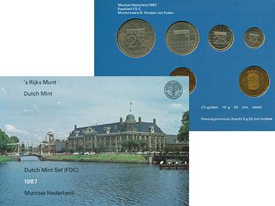 Изображение Подарочные монеты Нидерланды Набор 1987 года 1987  UNC В набор входят пять