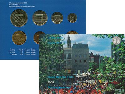 Изображение Подарочные монеты Нидерланды Набор 1988 года 1988  UNC В набор входят шесть