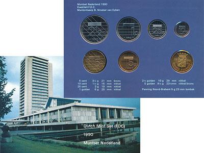 Изображение Подарочные монеты Нидерланды Набор 1990 года 1990  UNC В набор входят шесть