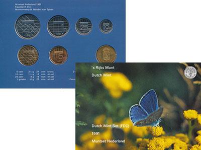 Изображение Подарочные монеты Нидерланды Набор 1991 года 1991  UNC В набор входят шесть