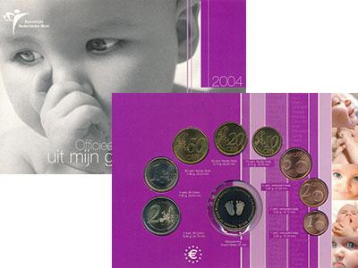 Изображение Подарочные монеты Нидерланды Рождение ребёнка 2004  UNC В набор входят восем