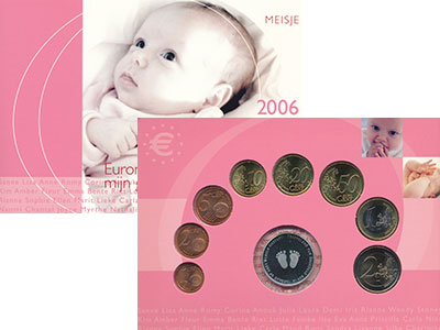 Изображение Подарочные монеты Нидерланды Рождение ребёнка 2006  UNC В набор входят восем
