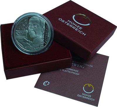 Изображение Монеты Австрия 20 евро 2013 Серебро Proof Шахматная новелла. Ш