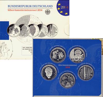 Изображение Подарочные монеты Германия 5 монет по 10 евро 2014 года 2014 Серебро Proof 10 евро 2014, 5 моне