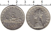 Изображение Монеты Италия 500 лир 1966 Серебро XF-