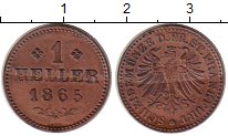 Изображение Монеты Германия Франкфурт 1 хеллер 1865 Медь UNC-
