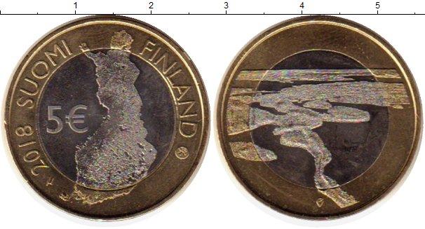 Картинка Монеты Финляндия 5 евро Биметалл 2018