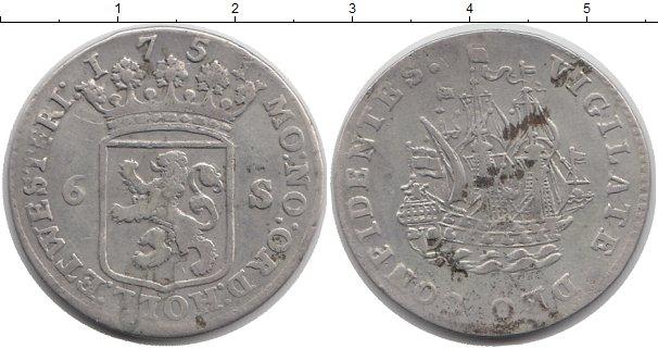 Картинка Монеты Нидерланды 6 стиверов Серебро 1751