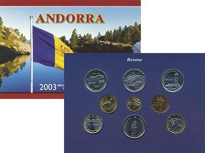 Изображение Подарочные монеты Андорра Набор 2003 года 2003  UNC В набор входят семь