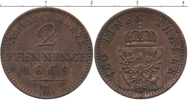 Картинка Монеты Пруссия 2 пфеннига Медь 1869