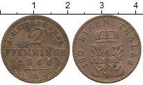 Изображение Монеты Германия Пруссия 2 пфеннига 1866 Медь XF