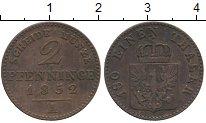 Изображение Монеты Германия Пруссия 2 пфеннига 1852 Медь XF-