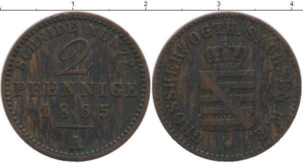 Картинка Монеты Саксен-Веймар-Эйзенах 2 пфеннига Медь 1865