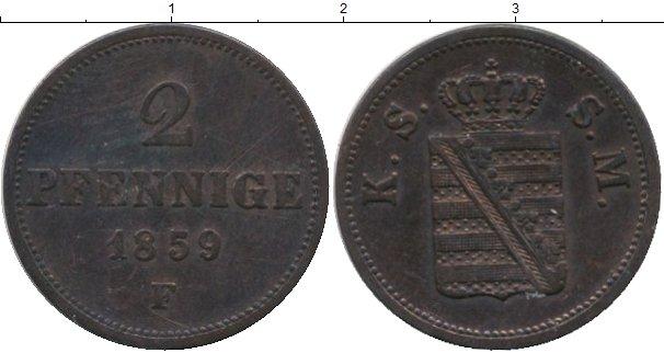 Картинка Монеты Саксен-Майнинген 2 пфеннига Медь 1859