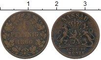 Изображение Монеты Германия Нассау 1 пфенниг 1860 Медь VF