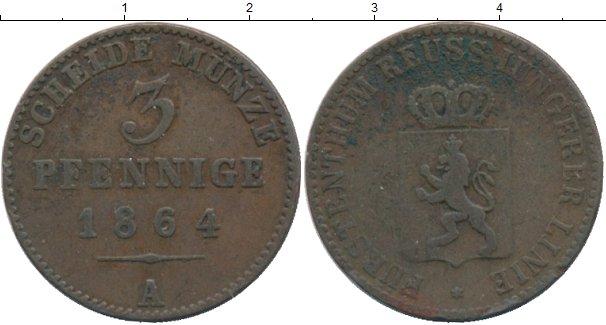 Картинка Монеты Рейсс-Шляйц 3 пфеннига Медь 1864
