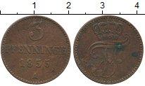 Изображение Монеты Германия Мекленбург-Шверин 3 пфеннига 1855 Медь XF-