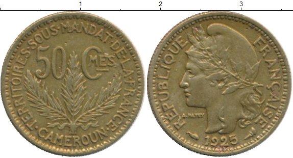 Картинка Монеты Камерун 50 сантим Латунь 1925